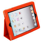 Hot Litchi Pattern Folio PU Leather Case Cover Pouch Stand for iPad 2 Orange