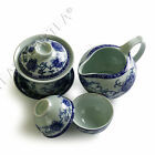 4pcs Chinese Porcelain Peony Flower Gaiwan Pitcher Cha hai teacup tea set 130ml