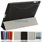 New Leather Smart Cover with Back Case Plastic for iPad 2 Black