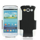 Silicone + Plastic Case Cover Double for Samsung Galaxy S3 i9300 Black + White