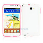 TPU Frame Case Cover for Samsung Galaxy Note i9220 Outside White Inside Pink