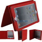 Fashion Litchi Pattern Leather Case Cover Pouch Stand For Apple iPad 2 Red