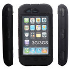 Rubber + Plastic 3Piece Hard Case Cover Skin for iPhone 3G 3GS Black + Black