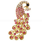 New Shining Peacock Style Alloy Rhinestone Brooch Pin Golden
