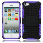 Deluxe TPU + Plastic Back Defender Case Cover With Stand for iphone 5 5G Purple