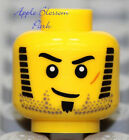 NEW Lego Police MINIFIG HEAD w/Black Side Burns Soul Patch Beard -Pirate/Soldier