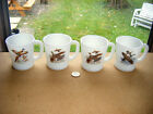 4 Fire King mugs Lot Game birds canadian Geese,Ringneck pheasant,Ruffed Grouse