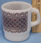 Vintage White Anchor Hocking Coffee Mug Cup Brown Plaid Diamond Pattern
