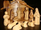OLIVE WOOD FACELESS NATIVITY SCENE SET HAND CARVE SOUVENIR FROM THE HOLY LAND