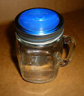 PT Mason Jar with Handle No Spill Sippy Cup Travel Mug USA Made Cuppow Lid Blue