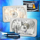 4 X 6 Inch Clear Diamond Cut Upgrade Replacement Head Lamps W H4 Light Bulbs