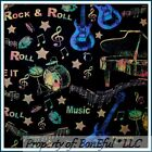 BonEful Fabric FQ Cotton Quilt Batik Black Rainbow Music Guitar Rock Band Piano