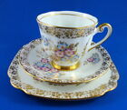 Painted Purple &  Blue Flowers with Gold Windsor Tea Cup, Saucer and Plate Trio