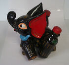 Vintage Painted Redware Elephant Salt & Pepper Shakers Vinegar & Oil  Holder