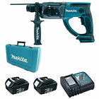 MAKITA 18V BHR202 SDS HAMMER DRILL, 2 x BL1830 BATTERIES, DC18RC CHARGER