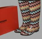 MISSONI Chevron Stripes Rubber Rain Boots Wms NIB DISCONTINUED SOLD OUT