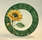 Fitz & Floyd Just Us Chicks Green w/Sunflower Salad Plate 9-1/4