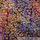 BonEful Fabric FQ Cotton Quilt BATIK Purple Orange Yellow VTG Calico Flower Leaf