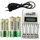 2 AA + 2 AAA 1350mAh 3000mAh NiMH 1.2V Rechargeable Battery EU LCD Charger BTY