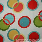 BonEful Fabric FQ Cotton DECOR Red Circle Ring Dot Natural America Baby Nursery