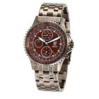 Mens Watch Brown Metal Band Big Face Multifunction Day Date Reloj Para Hombres