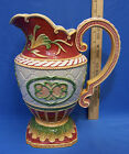 Fitz & Floyd Baronial Home Decorative Ceramic Pitcher Vase Ornate Design Red