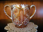 Vintage Marigold Carnival Imperial Glass Double Handled Sugar Bowl Saw Tooth Rim