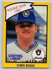 1990  CHRIS BOSIO - Kenner Starting Lineup Card - MILWAUKEE BREWERS - (Yellow)