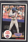 1990  JUAN SAMUEL - Kenner Starting Lineup Card - New York Mets - (BLUE)