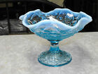 VINTAGE FENTON ART GLASS ICE BLUE OPALESCENT TULIP WATER LILY COMPOTE CANDY DISH