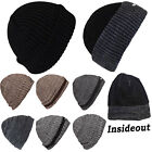 Mens Hat Thin Isulated Knitted Woolly Chunky Thermal Beanie Outdoor Winter Hats