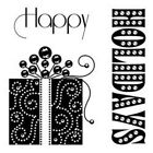 HAPPY HOLIDAY's Chrismtas GIFT acrylic CLEAR unmounted RUBBER STAMP's Brand NEW