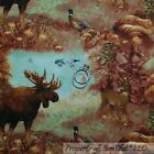 BonEful Fabric FQ Cotton Quilt Animal Forest Deer Buck Moose Cabin Pheasant Bird