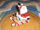 FITZ AND FLOYD  ESSENTIALS YULETIDE HOLIDAY SANTA AND SLEIGH SALT AND PEPPER