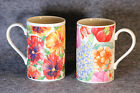 DUNOON - Tall Coffee Tea Mugs Cups - Flowers - Floral - Scotland - Set of 2