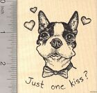 Valentines Day Boston Terrier Dog Rubber Stamp Just One Kiss K23416 WM