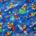 BonEful Fabric FQ Cotton Quilt Blue White Boy Star Sky Earth Space Planet Rocket