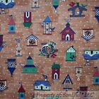 BonEful Fabric FQ Cotton Quilt Brown Blue Red VTG Country Dot Bird House Calico