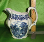Booths England BRITISH SCENERY Blue & White China LARGE Milk PITCHER Exc. Cond.