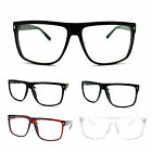 Mens 80s Normcore Nerdy Geek Large Thin Plastic Frame Rectangular Eye Glasses