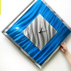 Modern Metal Wall Clock Contemporary Art Decor Blue Ice by Jon Allen