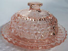 JEANNETTE GLASS CO HOLIDAY BUTTONS  BOWS PINK BUTTER DISH  COVER