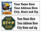 60 GREEN BAY PACKERS RETURN ADDRESS LABELS MANY CHOICES