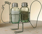 Rustic  Early American Barn Roof Gray Wire Rooster Caddy & Mason S & P Shakers