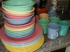 FIESTAWARE PASTAL DINNER PLATES,CAKE PLATES & COFFEE CUPS 27 PIECES LOVELY