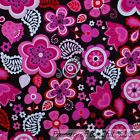 BonEful Fabric FQ Cotton Quilt Brown Pink White Red Flower Leaf Dot Paisley Star