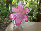 VINTAGE MURANO ART GLASS PINK FLORAL DISH BOWL
