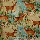 BonEful Fabric FQ Cotton Quilt Red Green Gold Xmas Lg Deer Buck Cabin Berry Leaf