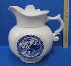 Vintage McCoy Pitcher w/ Lid Cookie Jar White Blue Oriental Asian Pagoda USA