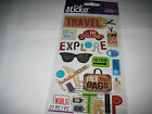 Scrapbooking Stickers Sticko Happy Traveling Tags Travel Icons Plane Car Luggage
